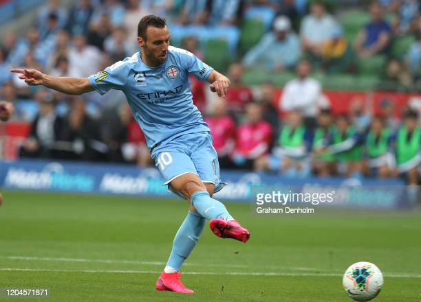 Florin BerenguerBohrer of Melbourne City scores a goal during the round 18 ALeague match between Melbourne City and Melbourne Victory at AAMI Park on...