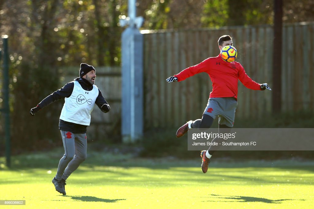 Florin Gardos (R) during a Southampton FC training session at Staplewood Complex on December 28, 2017 in Southampton, England.