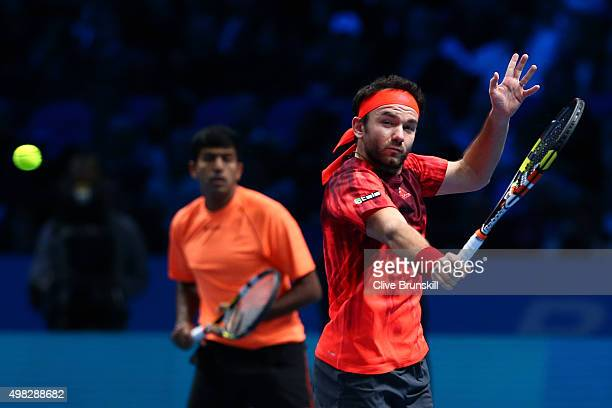 Florin Mergea of Romania and Rohan Bopanna of India in action during the men's doubles final against JeanJulien Rojer of France and Horia Tecau of...