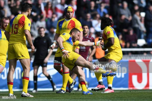 Florin Surugiu of Romania kicks the ball during the Rugby Europe Championship round 5 match between Georgia and Romania at Dinamo Arena on March 18...