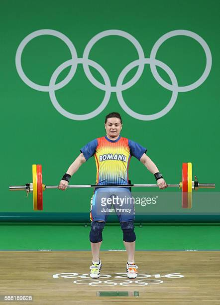 FlorinaSorina Hulpan of Romania lifts during the Women's 69kg Group A weightlifting contest on Day 5 of the Rio 2016 Olympic Games at Riocentro...