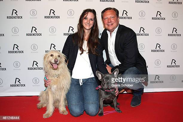 Florinda Bogner and her dogs Kio and Lui and Oliver Kastalio CEO Rodenstock during the Rodenstock Bogner premiere party at P1 on January 9 2015 in...