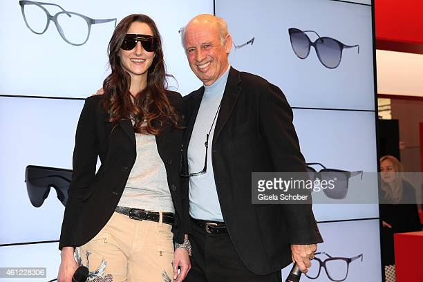 Florinda Bogner and her father Designer Willy Bogner during the Rodenstock & Bogner press conference at Messe Muenchen on January 9, 2015 in Munich,...