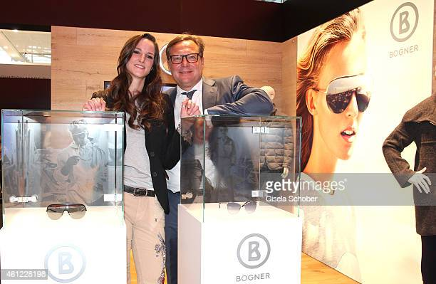Florinda Bogner ; Oliver Kastalio, CEO Rodenstock during the Rodenstock & Bogner press conference at Messe Muenchen on January 9, 2015 in Munich,...