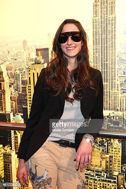 Florinda Bogner with sunglasses during the Rodenstock & Bogner press conference at Messe Muenchen on January 9, 2015 in Munich, Germany.