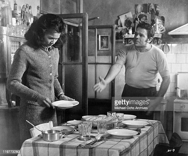 Florinda Bolkan is berated by Renato Salvatori in a scene from the film 'A Brief Vacation' 1973