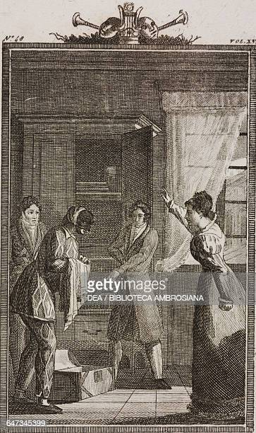 Florindo and Rosaura giving orders to Harlequin engraving by G Zuliani from a drawing by G Steneri from Punctilious Ladies Act II Scene 4 Comedies...