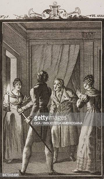 Florindo drawing his sword in front of Rosaura and Pancrazio Aretusi engraving by Antonio Viviani from a drawing by G Steneri from The Lucky Heir Act...