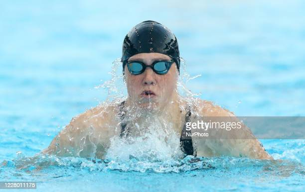 Florine Gaspard competes in the women's 100m breaststroke during the international swimming trophy Frecciarossa Settecolli in Rome Italy on August 12...