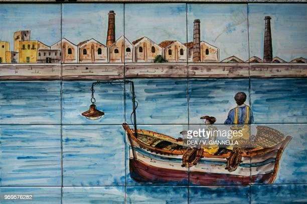 Florio Tuna Fishery painted on ceramic tiles in the Favignana square Aegadian Islands Sicily Italy