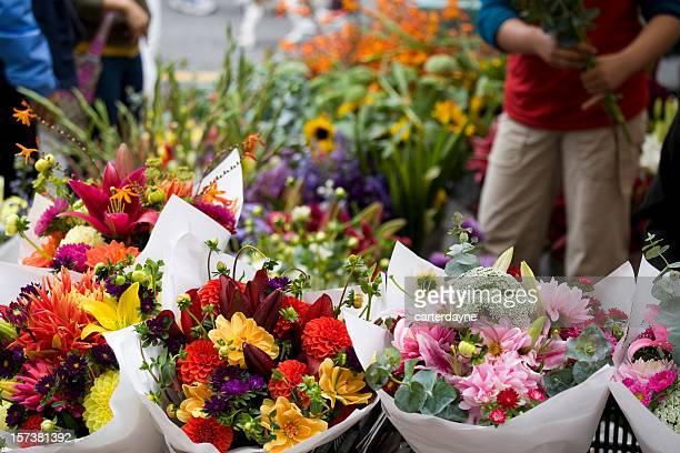Florist and Fresh flowers at an outdoor flower market
