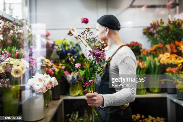 florist taking care of flowers in shop - botánica fotografías e imágenes de stock