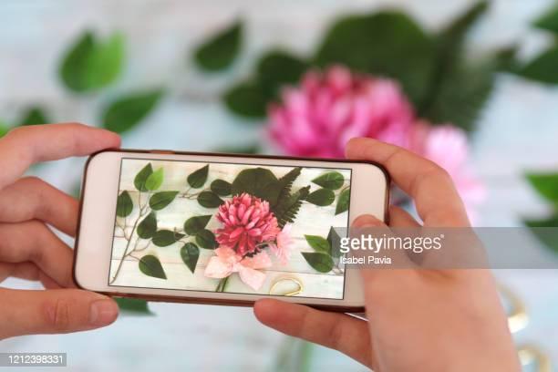 florist taking picture of a wreath on smartphone for social media. - ramo parte de uma planta imagens e fotografias de stock