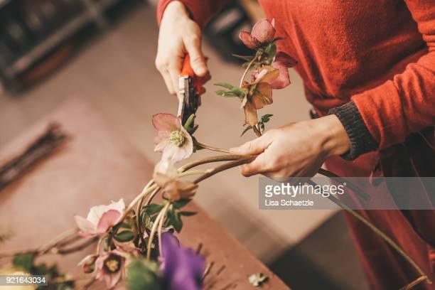 florist trims a flower - arranging stock pictures, royalty-free photos & images