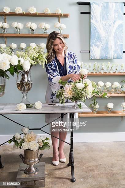 Florist Working in Her Shop