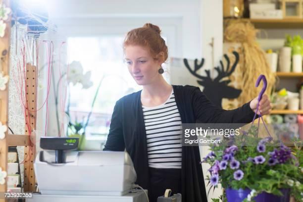 florist working in shop - sigrid gombert stock-fotos und bilder