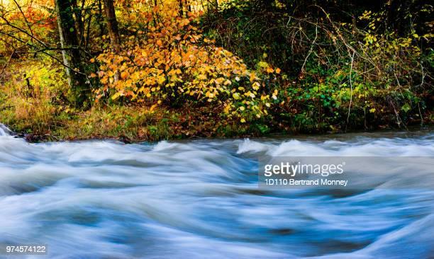 flot bleu sur paysage d'automne
