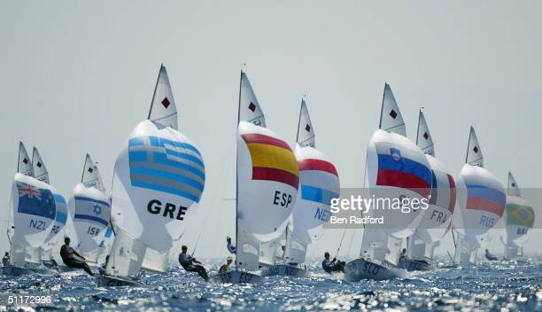 A flotilla of boats compete in the women's double handed dinghy 470 race on August 14 2004 during the Athens 2004 Summer Olympic Games at Agios...