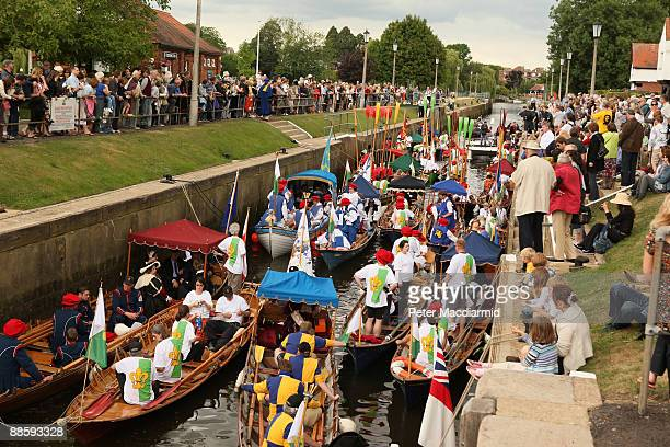 A flotilla of boats prepares to take King Henry VIII from Teddington Lock on the River Thames on June 20 2009 in London A weekend of events are being...