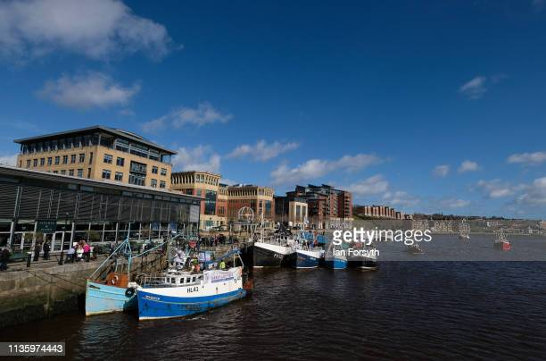 Flotilla of fishing boats from the Fishing For Leave protest group arrive at the Quayside area of the River Tyne on March 15, 2019 in Newcastle Upon...