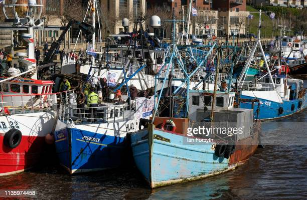 A flotilla of fishing boats from the Fishing For Leave protest group arrive at the Quayside area of the River Tyne on March 15 2019 in Newcastle Upon...