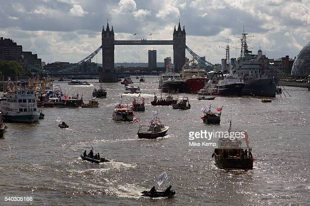 Flotilla of fishing vessels heading up the Thames to make the case for Brexit in the EU Referendum on June 15th in London United Kingdom The flotilla...