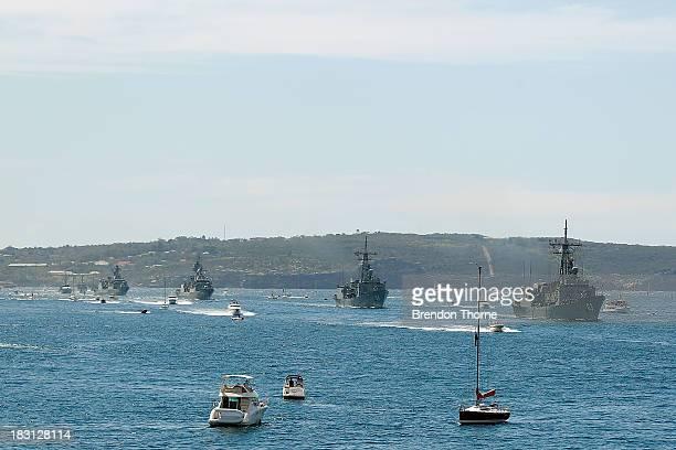 Flotilla of Royal Australian Navy warships enter Sydney Harbour on October 5, 2013 in Sydney, Australia. Over 50 ships participate in the...
