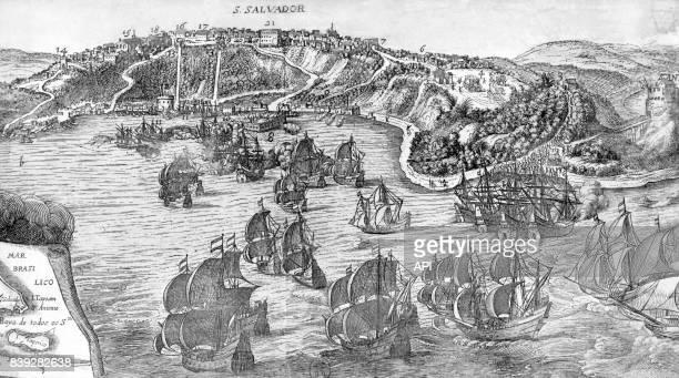 Flotte hollandaise devant Salvador de Bahia au Brésil en 1624