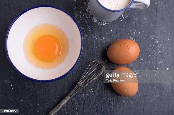 Flour and eggs on the table