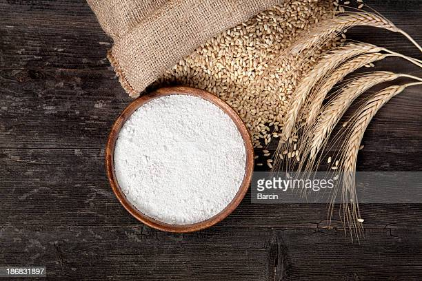 flour and wheat grains - wheat stock pictures, royalty-free photos & images
