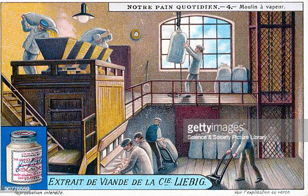 Flour going through a steam mill Liebig trade card early 20th century 'Moulin a vapeur' No 4 in the 'Notre Pain Quotidien' set of cards showing the...