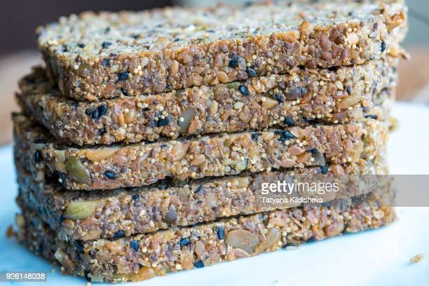 Flour-less, gluten free, vegan, grain free homemade bread with seeds and nuts