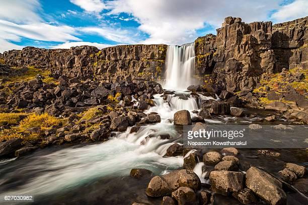a flow of öxarárfoss - pingvellir national park stock photos and pictures