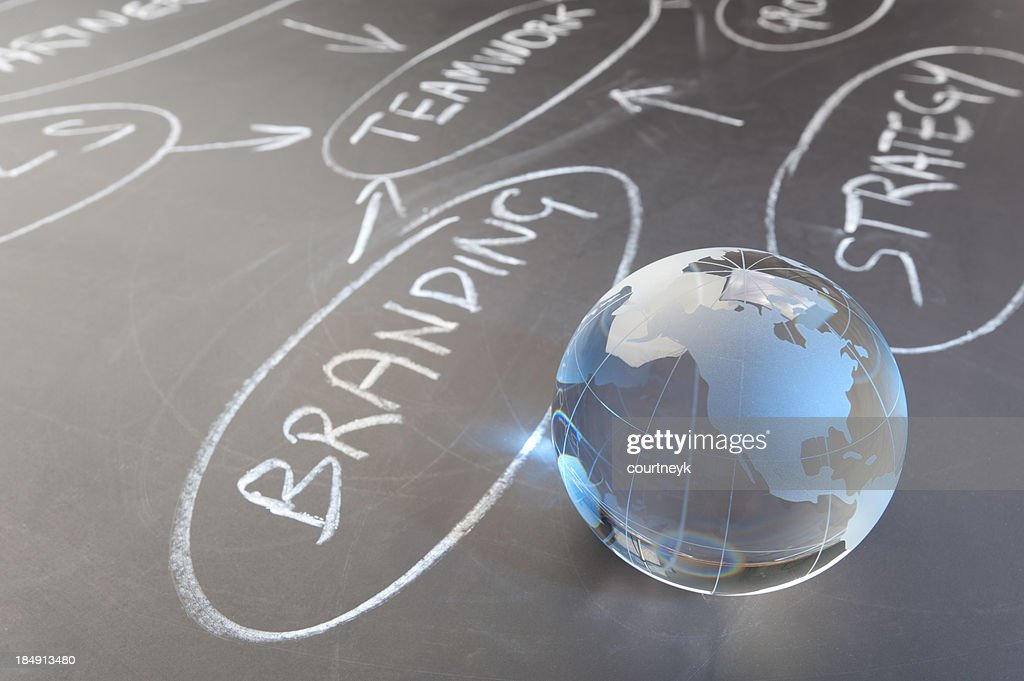 Flowchart on a chalk board with world globe : Stock Photo