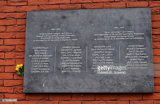 A flower adorns a plaque bearing the names of the victims of the Heysel Stadium tragedy during a ceremony marking the 30th anniversary of the tragedy...