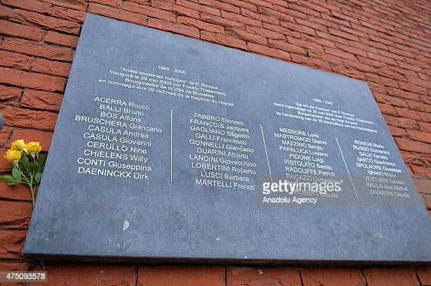 Flower adorns a plaque bearing the names of the victims of the Heysel Stadium tragedy during a ceremony marking the 30th anniversary of the tragedy...