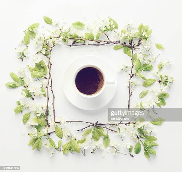 Flower and coffee, composition flatlay