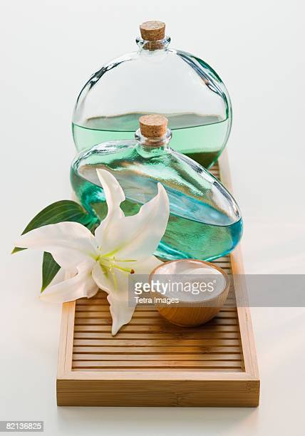 Flower and spa treatments on tray