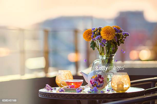 flower and tea - afternoon tea stock pictures, royalty-free photos & images