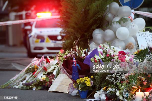 Flower are left at the Al Noor mosque March 17 2019 in Christchurch New Zealand 49 people are confirmed dead with with 36 injured still in hospital...