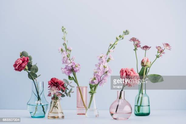 flower arrangement in pastel - bunch stock pictures, royalty-free photos & images