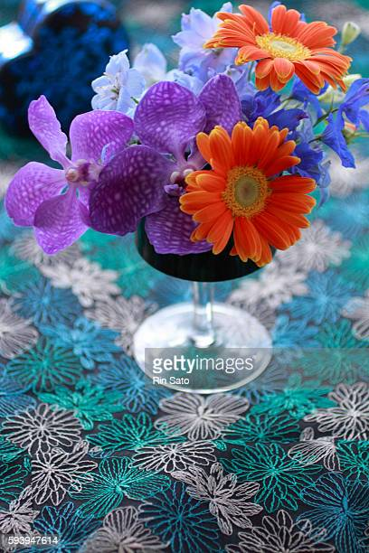 flower arrangement - stiches stock photos and pictures