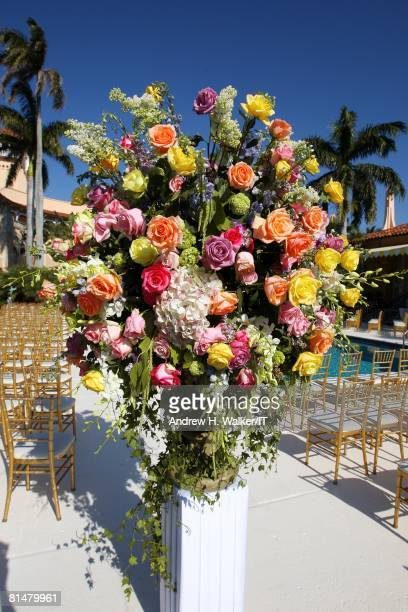 RATES Flower arrangements at the wedding of Ivana Trump and Rossano Rubicondi at the MaraLago Club on April 12 2008 in Palm Beach Florida Cake...