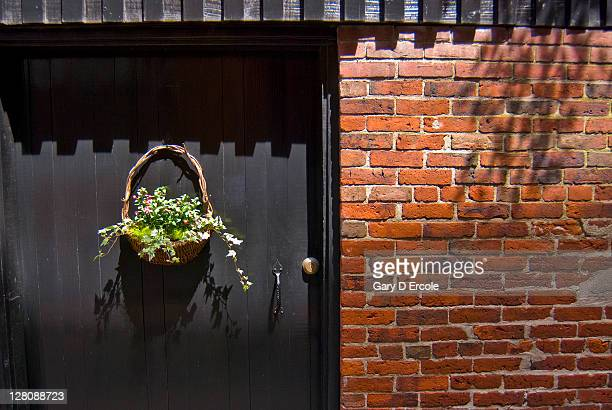 Flower basket hanging on door to residence, Beacon Hill, Boston, MA