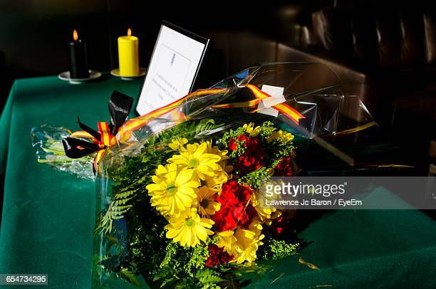 Flower Bouquet On Table At Embassy Building