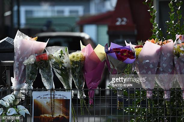 Flower bouquets are seen in front of the home of the parents of executed Australian drug convict Andrew Chan in Sydney on May 2 2015 The bodies of...