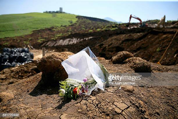 Flower bunches are offered at a landslide site where five people were killed on one month anniversary of the series of earthquakes on May 14 2016 in...