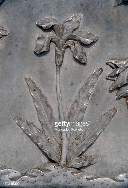 'Flower by Mughal craftsmen 16321653 17th Century marble basrelief India Agra Taj Mahal Detail Close up of a basrelief depicting a flower beautifully...