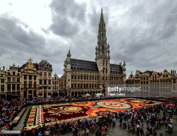 flower carpet, grand place, brussels, belgium - グランプラス ストックフォトと画像