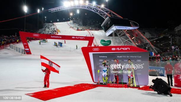 Flower Ceremony with Alexis Pinturault of France, Marcel Hirscher of Austria and Daniel Yule of Switzerland competing at Audi FIS Alpine Ski World...